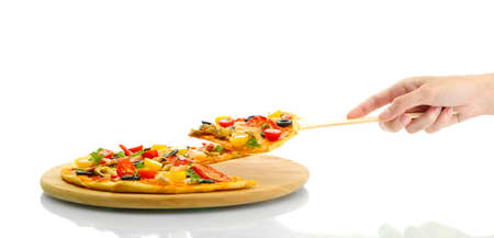 woman's hand holding a slice of pizza on a culinary shoulder on white background close-up Stock Photo - 17516615