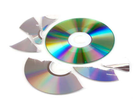 Broken and whole disks with information isolated on white Stock Photo - 17516640