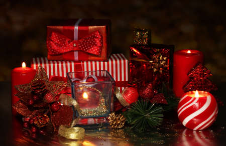 Christmas decoration and gift boxes on dark background Stock Photo - 17520865