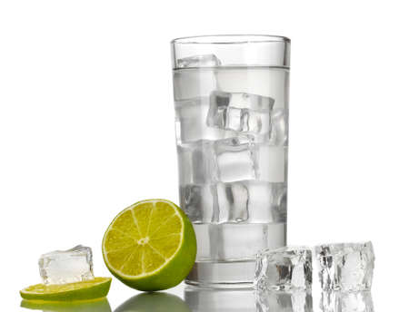 Ice cubes in glass with lime isolated on white Stock Photo - 17516650
