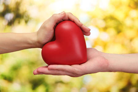 hope: Red heart in woman and man hands, on green background