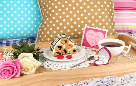 Breakfast in bed on Valentine's Day close-up photo