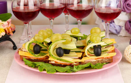Canapes and wine in restaurant Stock Photo - 17528032