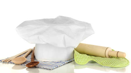 battledore: Chefs hat with kitchenware and battledore isolated on white
