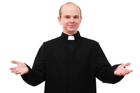 religion catolica: Sacerdote joven aislado en blanco Foto de archivo