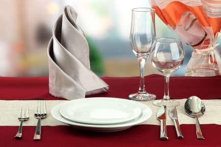 holiday table setting at restaurant photo