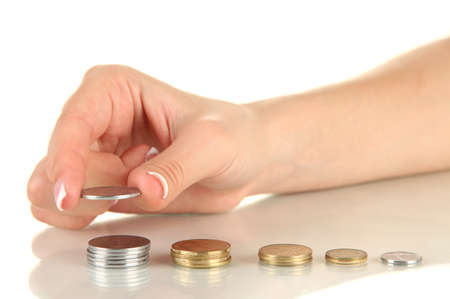 Woman hand with coins, close up photo