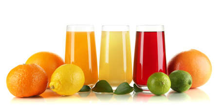 Glasses of juise with leafs and fruits isolated on white photo
