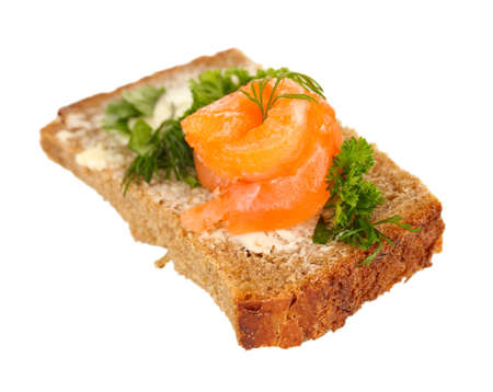 Salmon sandwich on plate, close up photo