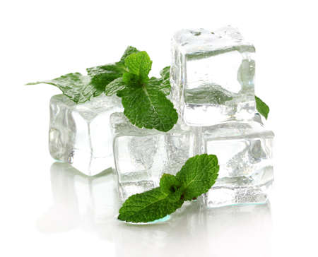 peppermint: Ice with mint isolated on white
