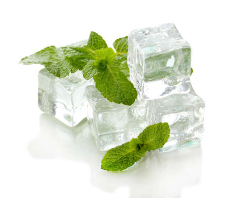 Ice with mint isolated on white photo