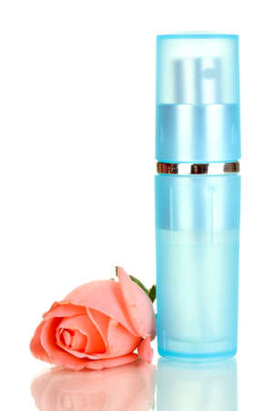 Women's perfume in beautiful bottle with rose isolated on white Stock Photo - 17577689