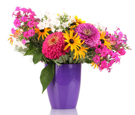 ronantic: Beautiful bouquet of bright flowers isolated on white Stock Photo