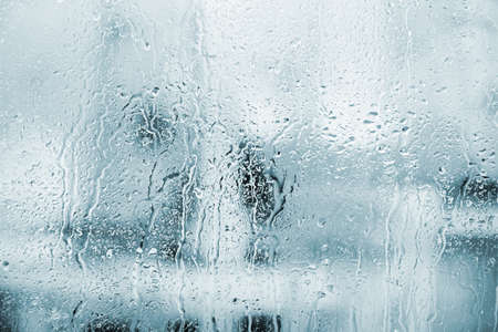 surface closeup: glass with natural water drops Stock Photo