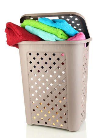 Beige laundry basket isolated on white Stock Photo - 17656739