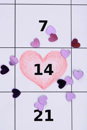 Notes on the calendar (valentines day), close-up photo