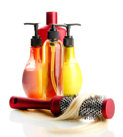 comb brush with hair and cosmetic bottles, isolated on white Stock Photo - 17656618