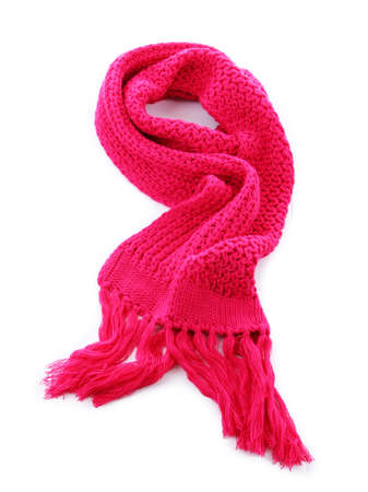 Pink knitted scarf isolated on white  photo