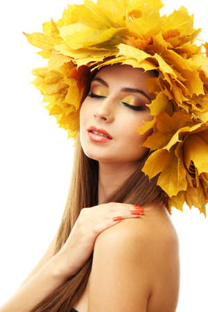 beautiful young woman with yellow autumn wreath, isolated on white Stock Photo - 17680141