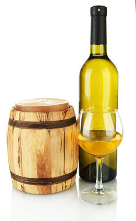 white wine with wooden barrel isolated on white Stock Photo - 17673464
