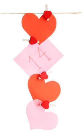 paper hearts and card on rope, isolated on white Stock Photo - 17672875