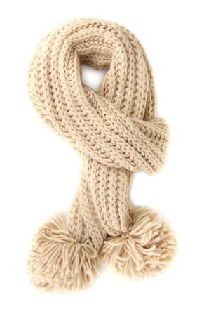clothes interesting: Warm knitted scarf isolated on white