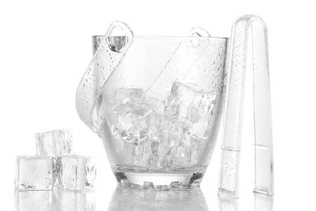 Glass ice bucket isolated on white Stock Photo - 17673469
