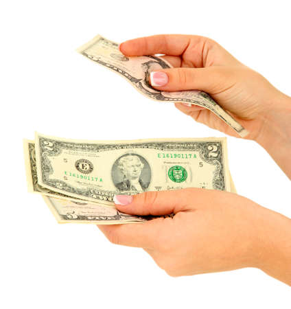 recounts: Woman recounts dollars, close up, isolated on white Stock Photo