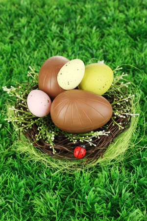 elliptic: Composition of Easter and chocolate eggs in nest on grass background close-up