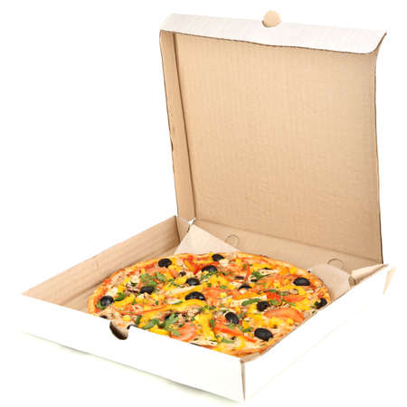 Tasty pizza in paper box isolated on white photo