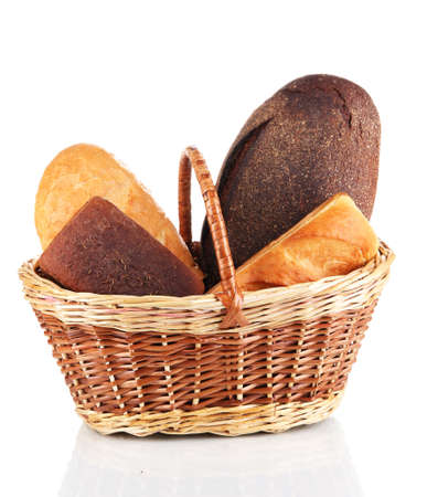 Fresh bread in basket isolated on white Stock Photo - 17704702