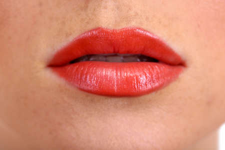 beautiful make up of gloss lips, close up photo