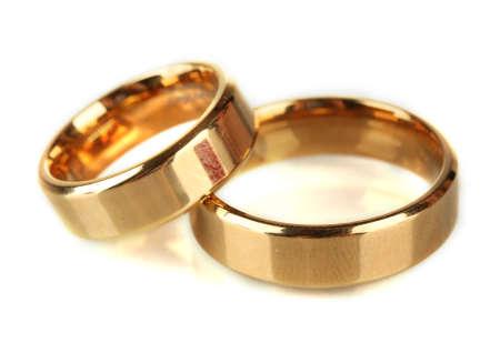 wedlock: Wedding rings isolated on white