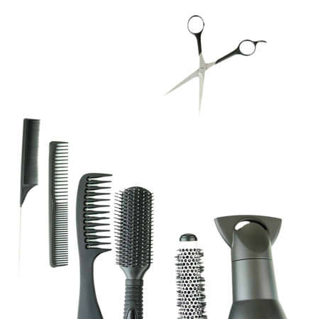 Comb brushes, hairdryer and cutting shears, isolated on white Stock Photo - 17768714