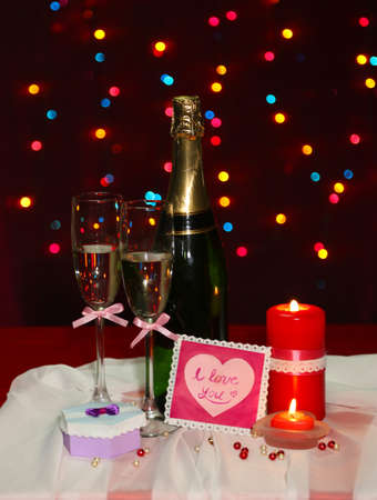 Composition Valentines Day on lights background photo