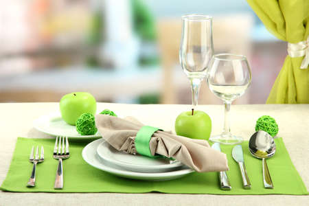 formal dinner: holiday table setting at restaurant