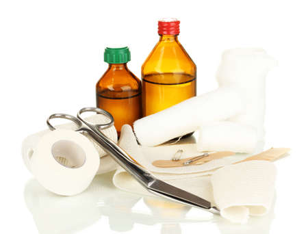 First aid kit for bandaging isolated on white Stock Photo - 17769166