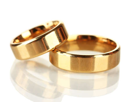wedding accessories: Wedding rings isolated on white