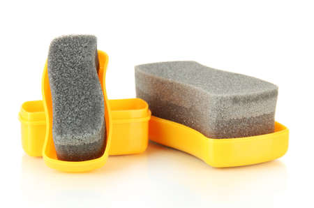Shoe shine sponges, isolated on white photo