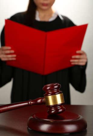 Judge read verdict on grey background Stock Photo - 17769211