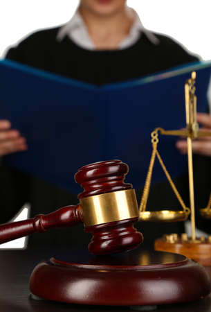 Judge read verdict on white background