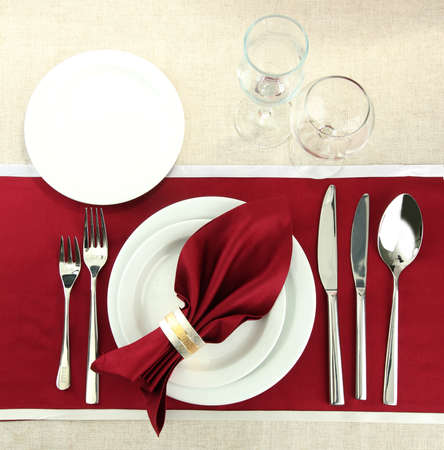 feast table: holiday table setting, close up
