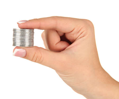 Woman hands with coins isolated on white Stock Photo - 17771219