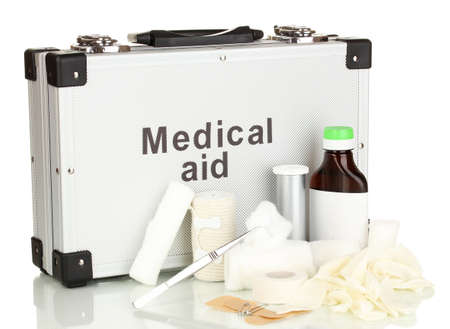 First aid kit for bandaging isolated on white Stock Photo - 17771384