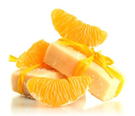 handmade soap: Natural handmade soap and orange, isolated on white