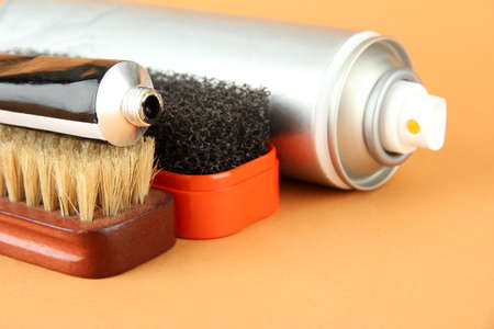 Set of stuff for cleaning and polish shoes, on color background Stock Photo - 17825794