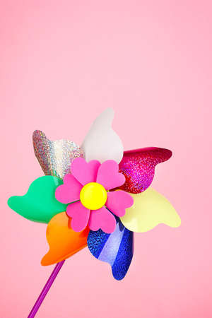 Colored pinwheel on pink background Stock Photo - 17864295