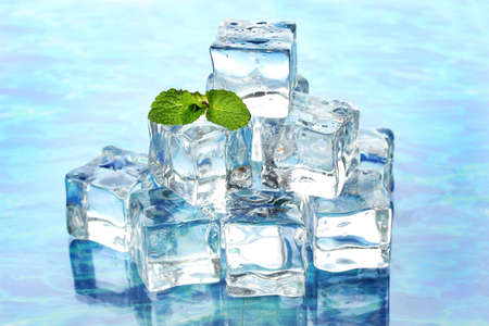 Ice with mint on light background Stock Photo