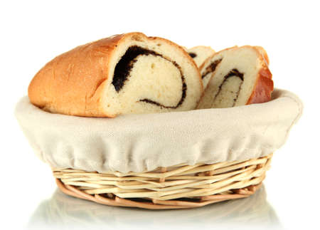 Loaf with poppy seeds in wicker basket, isolated on white Stock Photo - 17864168