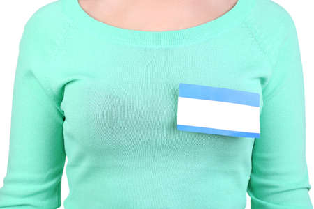 Blank nametag on girl's clothes close up Stock Photo - 17864326